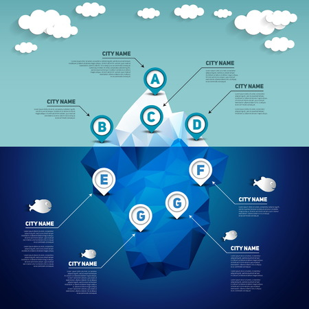 Iceberg infographic, vector illustration