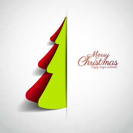 Merry Christmas paper tree design greeting card - vector illustration