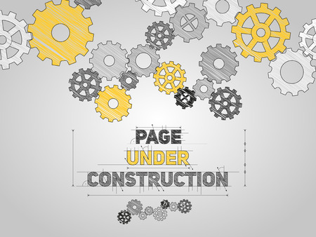 Photo for Page Under construction concept, sketched drawing with gear wheels - Royalty Free Image