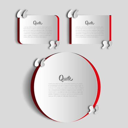 Set of papercut Quote text bubbles. place for your note, message and comment, element design template