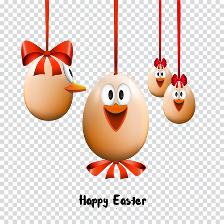 Funny Easter eggs with a bow, Happy Easter Card, on transparent background