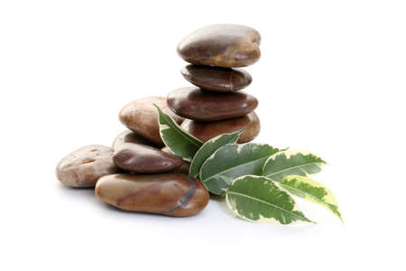 stack of pebbles and leaves isolated on white - wellbeing