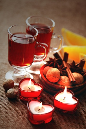Photo pour two glasses of mulled wine - food and drink - image libre de droit