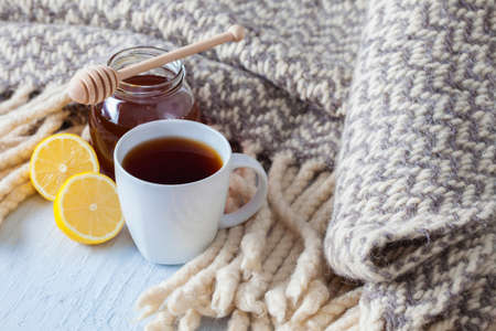 Photo for a cup of hot tea with lemon blanket - food and drink - Royalty Free Image