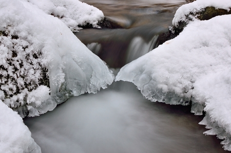Water and ice in winter mountain stream