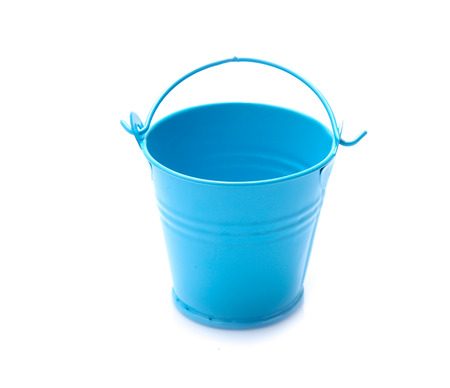 Photo for empty blue metal bucket isolated on a white background - Royalty Free Image