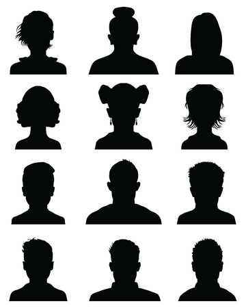 Illustration for Male and female head silhouettes avatar, profile icons - Royalty Free Image