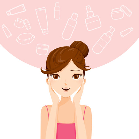 Illustration for Young Woman Cleaning And Cares Her Face, Facial, Beauty, Cosmetic, Makeup, Health, Lifestyle - Royalty Free Image