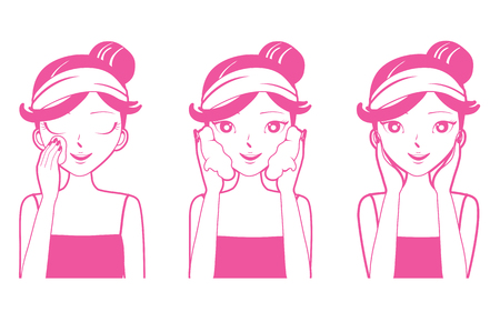 Illustration for Young Woman Cleaning, Washing And Cares Her Face , Facial, Beauty, Cosmetic, Makeup, Health, Lifestyle - Royalty Free Image