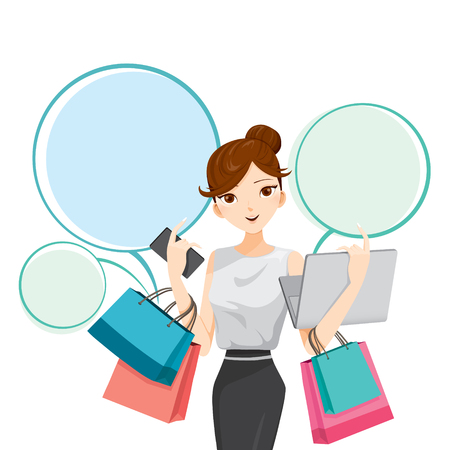 Illustration for Woman holding notebook, smartphone and shopping bags, goods, food, beverage, beauty, lifestyle - Royalty Free Image