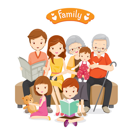 Illustration pour Happy Family Sitting on Sofa and Floor, Relationship, Togetherness, Vacations, Holiday, Lifestyle - image libre de droit