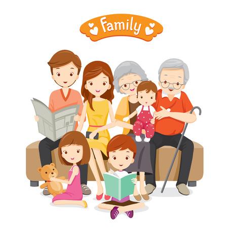 Ilustración de Happy Family Sitting on Sofa and Floor, Relationship, Togetherness, Vacations, Holiday, Lifestyle - Imagen libre de derechos