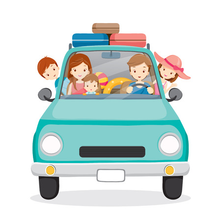 Foto de Family on Car Driving to Travel, Vacations, Holiday, Travel Destination, Journey Trips, Transportation - Imagen libre de derechos