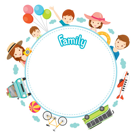 Illustration for Family Vacation Objects on Round Frame, Vacations, Holiday, Travel Destination, Journey Trips, Transportation - Royalty Free Image