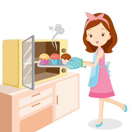 Vektor für Girl Baking Cupcake, Kitchen, Kitchenware, Crockery, Cooking, Food, Bakery, Occupation, Lifestyle - Lizenzfreies Bild