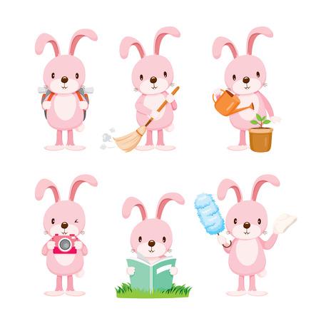 Ilustración de Pink Rabbit Actions Set, Housework, Appliance, Domestic Tools, Computer Icon, Cleaning, Symbol, Icon Set, Spring Season - Imagen libre de derechos