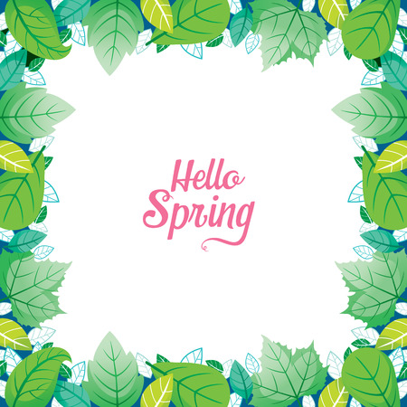 Green Leaf Border With Hello Spring Lettering, Spring Season, Lettering, Frame, Border, Nature