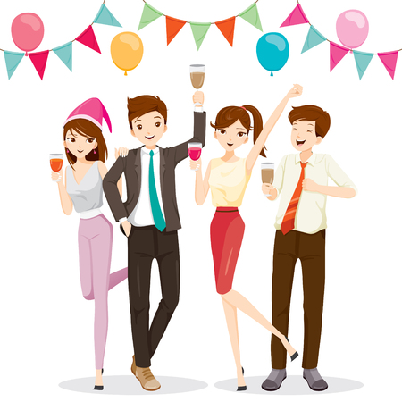 Man And Woman Fun In Party With Drink, Party, Corporate Party, Banquet, Feast, Company, Celebration