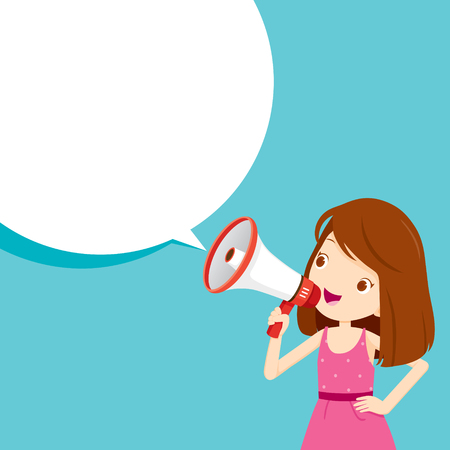 Ilustración de Girl With Megaphone Announcement And Speech Bubble, Commercial, Promotion, Event, Ad, Marketing, Announcer - Imagen libre de derechos