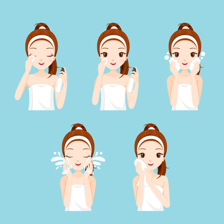 Illustration pour Girl Cleaning And Care Her Face With Various Actions Set, Facial, Beauty, Cosmetic, Makeup, Health, Lifestyle, Fashion - image libre de droit