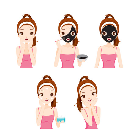 Illustration for Girl Cares And Protects Her Face With Various Actions Set, Facial, Beauty, Cosmetic, Makeup, Health, Lifestyle, Fashion - Royalty Free Image