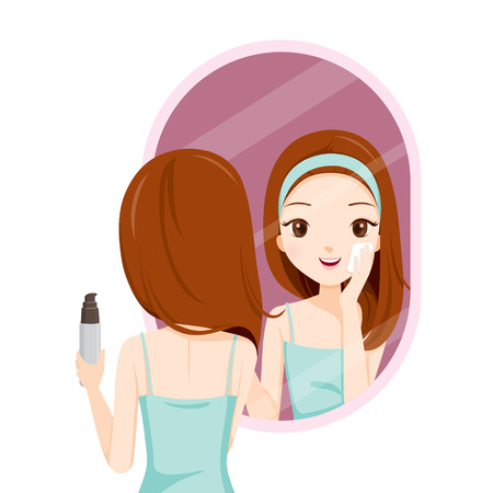 Illustration for Girl Scrubbing Her Face And See Herself In Mirror, Facial, Beauty, Skin, Cosmetic, Makeup, Health, Lifestyle, Fashion - Royalty Free Image
