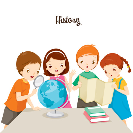 Illustration pour Children In History Class, Back to school, Educational, Stationery, Book, Children, Knowledge, School Supplies, Educational Subject - image libre de droit