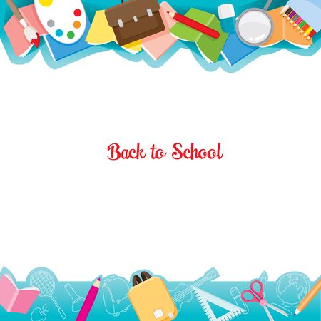 Foto für School Supplies Icons On Frame, Back to school, Educational, Stationery, Book, Children, School Supplies, Educational Subject, Objects, Icons - Lizenzfreies Bild