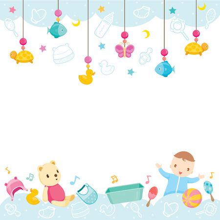 Illustration pour Baby Icons And Objects Background, Baby, Accessories, Frame, Hanging, Background, Border - image libre de droit