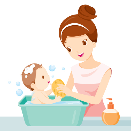 Illustration pour Mother Washing Baby, Mother, Baby, Bathing, Washing, Mother's Day - image libre de droit