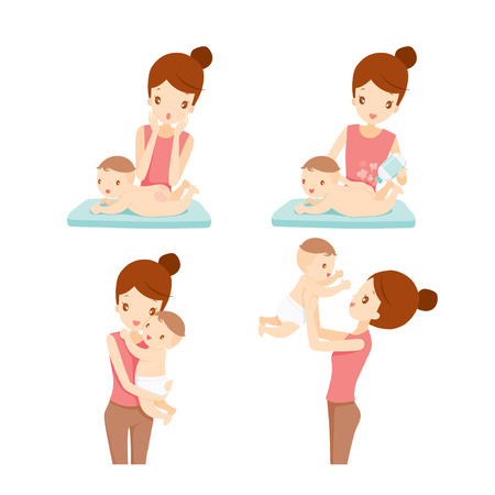 Illustration pour Mother And Baby Set, Mother, Baby, Rash, Mother's Day, Baby Powder - image libre de droit