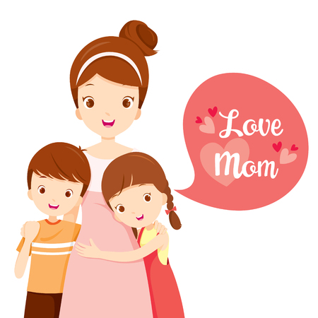 Illustration for Son And Daughter Hugging Their Mother, Mother's Day, Mother, Embracing, Hug, Sibling, Love, Children - Royalty Free Image