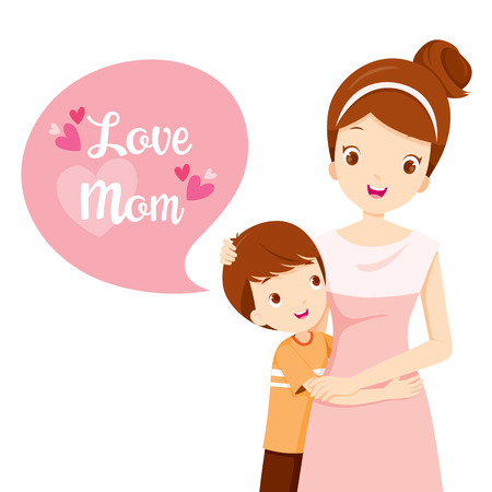 Illustration for Son Hugging His Mother, Mother's Day, Mother, Embracing, Hug, Son, Love, Children - Royalty Free Image