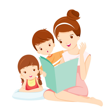 Illustration for Mother Reading Tale Book To Daughter And Son, Mother, Mother's Day, Children, Tale, Reading, Family, Relaxing - Royalty Free Image