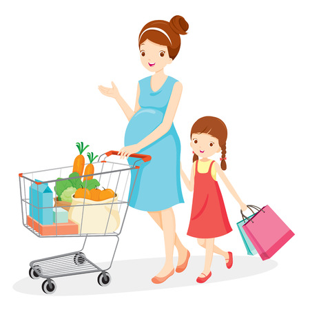 Illustration for Pregnant Mom And Daughter Shopping Together, Pregnant, Mother, Shopping, Retail, Shopping Cart, Buying, Pushcart, Trolley - Royalty Free Image