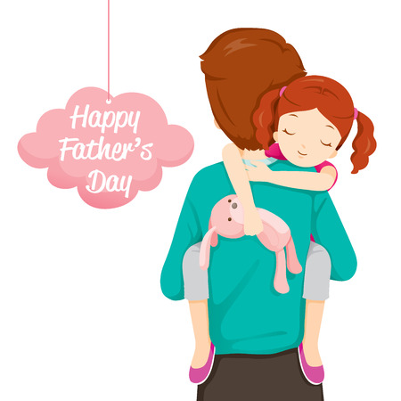 Illustration pour Father Carrying Sleeping Daughter, Father's Day, Family, Parent, Offspring, Love, Relationship - image libre de droit