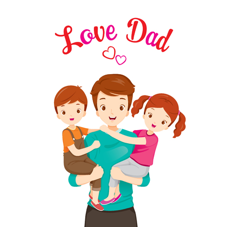 Illustration pour Father Carrying Son And Daughter, Father's Day, Family, Parent, Offspring, Love, Relationship - image libre de droit