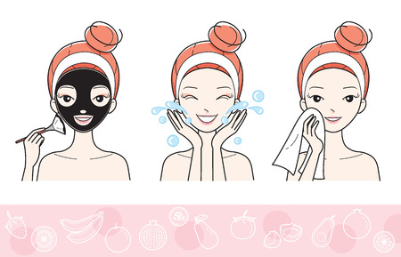 Illustration for Young Woman With Facial Mask Step, Treatment, Beauty, Cosmetic, Makeup, Healthy, Lifestyle - Royalty Free Image