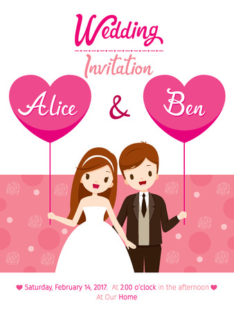 Illustration pour Wedding Invitation Card Template, Bride And Groom, Love, Relationship, Sweetheart, Engagement, Valentine's Day - image libre de droit