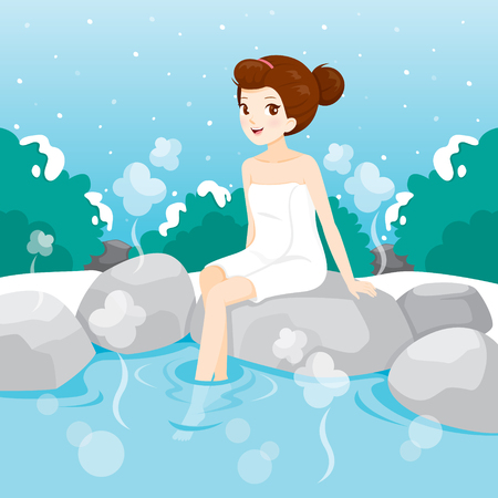Woman Relaxing In Hot Spring, Bath, Onsen, Japanese, Culture, Healthy, Season, Body