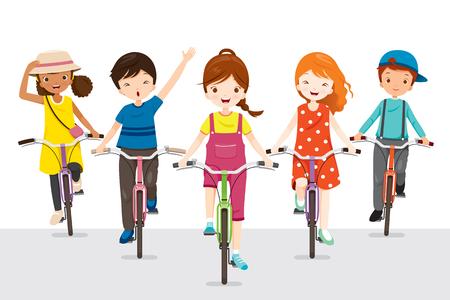 Ilustración de Children Riding Bicycle Together, Bicyclist, Healthy, Vehicle, Sport, Lifestyle - Imagen libre de derechos