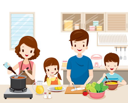 Illustration for Happy Family Cooking Food In The Kitchen Together, Kitchenware, Crockery, House, Home, Room - Royalty Free Image