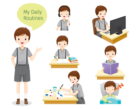 Illustration pour The Daily Routines Of Boy, People, Activities, Habit, Lifestyle, Leisure, Hobby, Avocation - image libre de droit