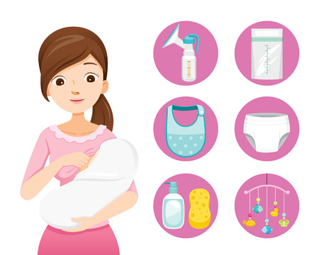 Illustration for Mother Breastfeeding And Hugging Baby. Baby Icons Set, Mother's day, Suckling, Infant, Motherhood, Innocence - Royalty Free Image