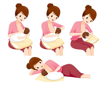 Illustration for Methods And Position For Mother Breastfeeding Baby Safety, Mother's day, Suckling, Infant, Motherhood, Innocence - Royalty Free Image