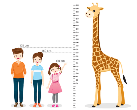 Illustration pour Man, Woman, Girl Measuring Height With Giraffe, Tall, Healthy, Care, People, Lifestyle - image libre de droit
