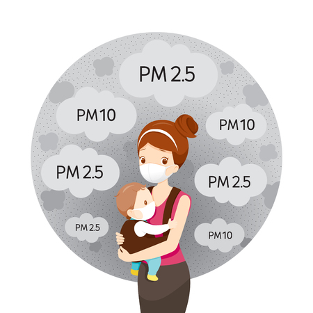 Illustration pour Mom And Baby Wearing Air Pollution Mask For Protect Dust  and pollution - image libre de droit
