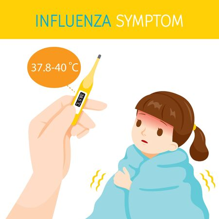 Illustration pour Girl With Influenza Symptoms With High Body Temperature, Flu, Vaccination, Infection, Sickness, Healthy - image libre de droit