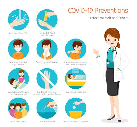 Ilustración de Female Doctor With Coronavirus Disease, Covid-19 Preventions, Steps to Protection Yourself And Others, Healthcare, Covid, Respiratory, Safety, Protection, Outbreak, Pathogen - Imagen libre de derechos