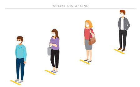 Illustration pour Social Distancing Concept, People Wearing Surgical Masks Standing With Distance In Queue, Protection For Coronavirus Disease, Covid-19, Lifestyle, Leisure, Hobby - image libre de droit